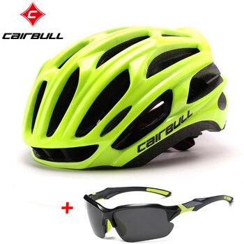 Cairbull estrada capacete da bicicleta ultraleve capacetes das mulheres dos homens mountain bike equitação ciclismo integralmente moldado capacete óculos de sol 1