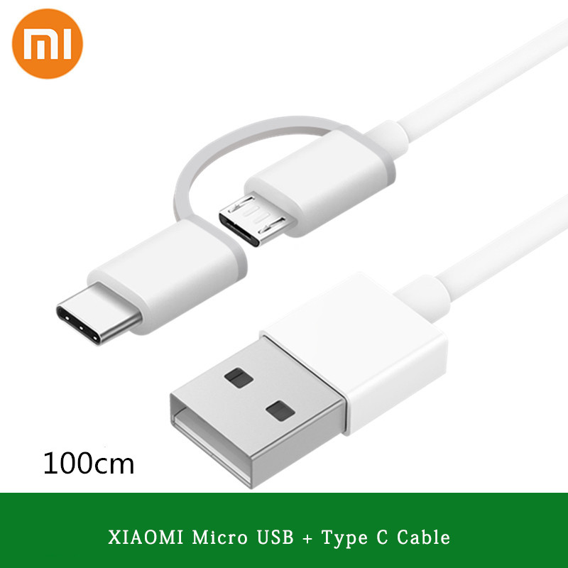 Original Xiaomi <font><b>2</b></font> in 1 Cable Type C Micro usb Cable Quick Charge Sync Data Line 100cm For Mi 9 6 6x 8 lite A3 CC9 Redmi note 8 image