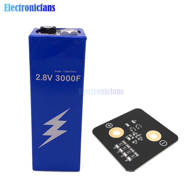 2.8V 3000F Super Farad Capacitor Low ESR High Frequency Super Capacitor 2.8V3000F for Car 161*56*56mm with protection board