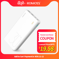 30000mAh ROMOSS Sense 8+ Power Bank Portable External Battery With QC Two way Fast Charging Portable Powerbank Charger For Phone
