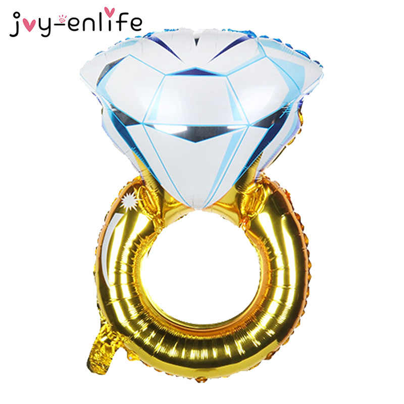 JOY-ENLIFE 1pcs Diamond Ring Foil Balloon Wedding Engagement Birthday Party Bridal Shower Bachelorette Party Decoration Supplies
