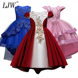 2020 Sale Real Kids Girls Elegant Wedding Flower Girl Dress Princess Party Pageant Formal Long Sleeveless Lace Tulle 2-14 Y
