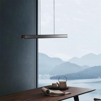 Modern Long Wood LED Pendant Iights Lighting Nordic Minimalist Aluminum simple Lamp Restaurant Bedroom Decor Luminarie