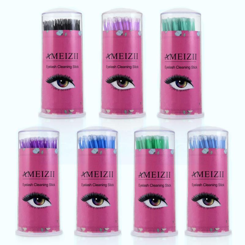 100Pcs Disposable Cotton Swab Eyelashes Extension Individual Lash Removing Swab Micro Brush For Cleaning Eyelash Makeup TSLM1