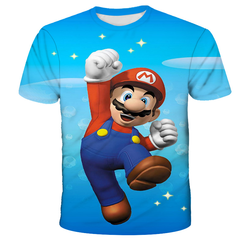 3T-15T Years Old Children's Classic Cartoon Mario 3D T-Shirt New Harajuku Style Classic Game Mario Bros Kids Clothes Mario Boys