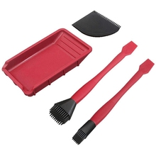 Silicone Wood Brush Kit 4 Pieces Woodworking with Silicone Brush and Tray for Floor Corner Bathroom Kitchen Room