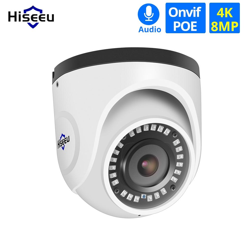 Hiseeu 4K 8MP POE IP Camera Dome Waterproof Audio CCTV Bullet Camera P2P Motion Detection ONVIF For PoE NVR 48V