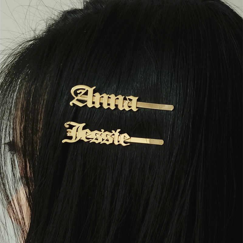 Akcesoria dla nowożeńców Barrettes niestandardowe stare angielskie nazwa spinka do włosów spersonalizowane spinki do włosów biżuteria ze stali nierdzewnej dziewczyna Lady's Gift