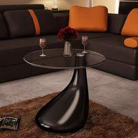 Vidaxl mesa de centro com vidro redondo superior alto brilho preto|Mesas de Café| |  -