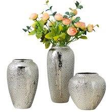 Silver vase home living room TV cabinet wine cabinet decoration ornaments soft art ceramic gold-plated vase Simple modern home
