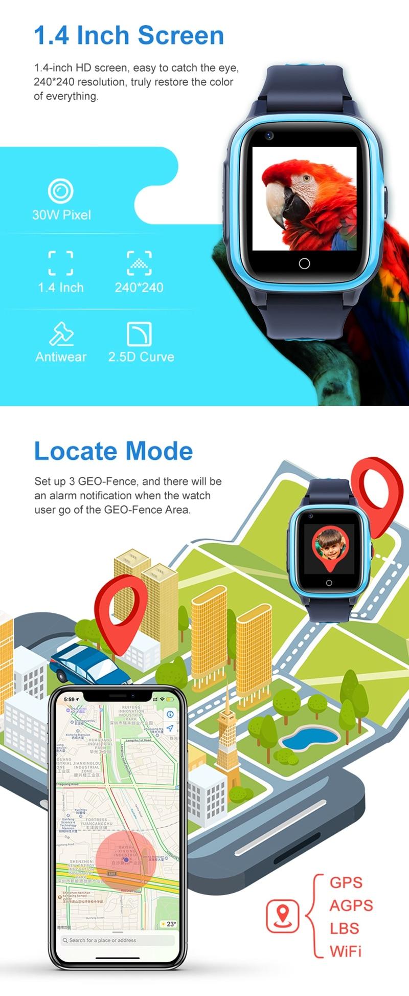 Intelligens órák gyerekeknek 4G HD videohívás GPS Smart-Watch baba vízálló fényképezőgép SOS elveszett kereső óra születésnapi ajándék (6)