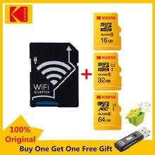 Kodak-tarjeta de memoria Micro SD, 16GB, 32GB, 64GB, UHS-I C10, con adaptador Wifi inalámbrico, 64GB, 32GB, 16GB, Wifi