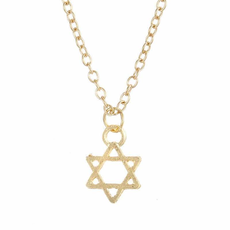 Karty mody wisiorek w kształcie gwiazdy naszyjnik chokers biżuteria stop złoty kolor łańcuch Charms heksagram naszyjniki mężczyźni/damska biżuteria na prezent