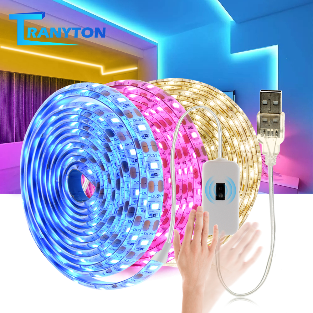 5V USB LED Strip 2835 Smart Hand Sweep Sensor Flexible DIY LED Light Pink Purple Ice Blue Backlight Light
