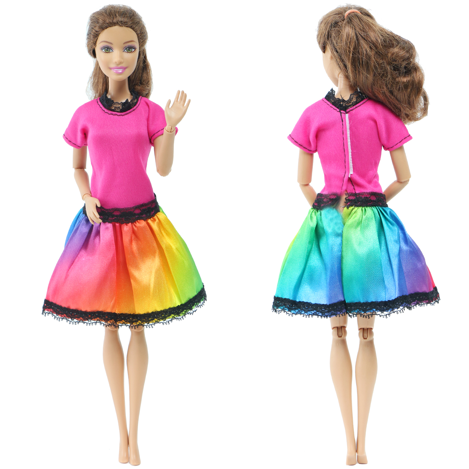 Handmade Colourful Dress Evening Party Party Gown Skirt Jumpsuit Doll Clothes For Barbie Doll Dollhouse Accessories DIY Toy