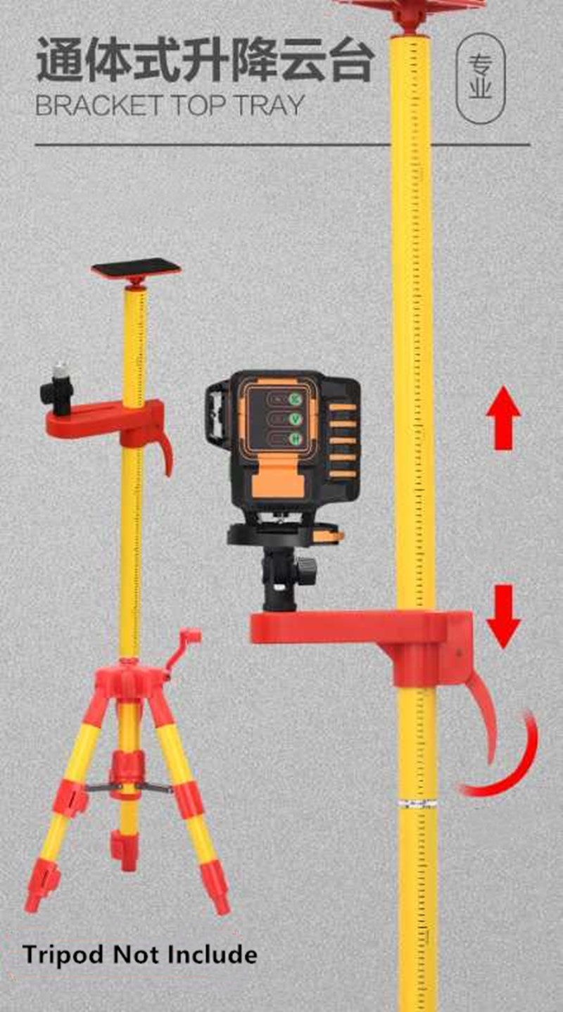 Tools : Professional Quality 4 2M Metal Tripod 5 8 and 1 4 Interface Ceiling Extend Bracket for Laser Level