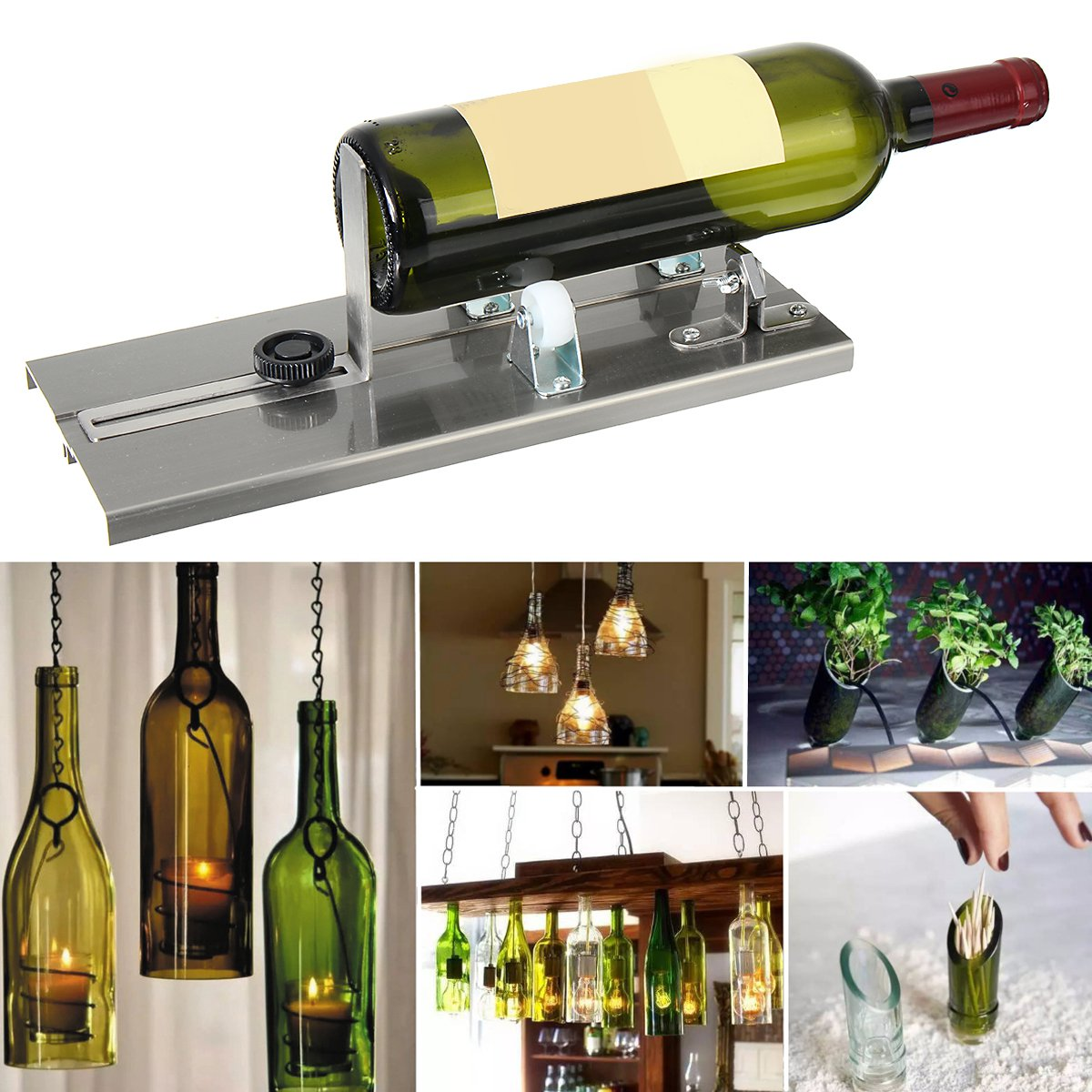 DIY Glass Bottle Cutter Machine Beer Wine Jar Recycle Craft Cutting Tool Kit Aluminum Alloy Glass Sculptures Construction Tools