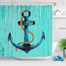 Штора для душа с морским якорем водонепроницаемая синяя рустикальная