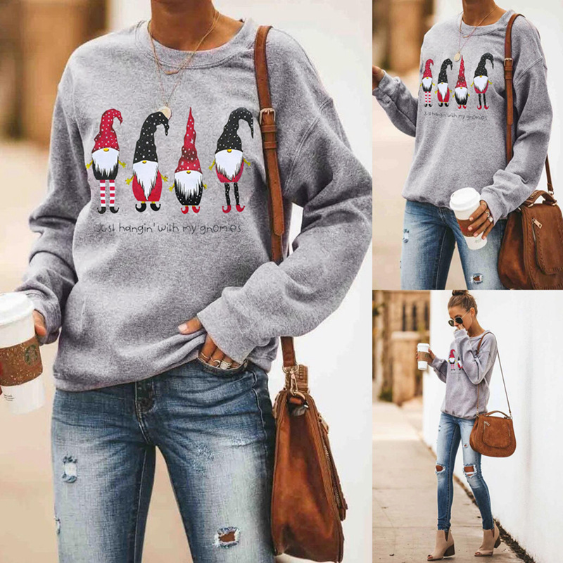 Christmas Clothe Ladie T-shirt Just Hangin' With My Gnomies Printed Round Neck Long-sleeved T-shirt Top Women Winter Basic Shirt