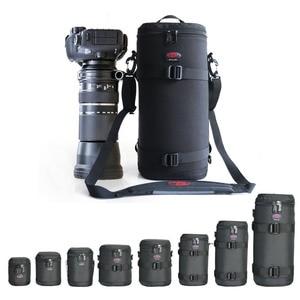 Image 2 - Kalın güçlü naylon yastıklı kamera su geçirmez Lens çantası çantası koruyun kılıf kemer Canon Nikon SONY için Sigma lensler