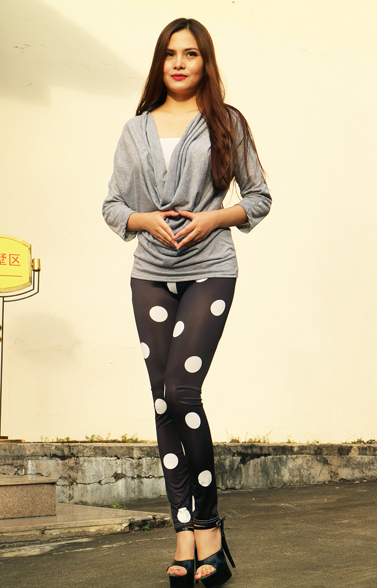 Hot Selling Europe And America Autumn WOMEN'S Trousers Fashion Polka Dot Leggings Tight Slimming Boot Pants A950