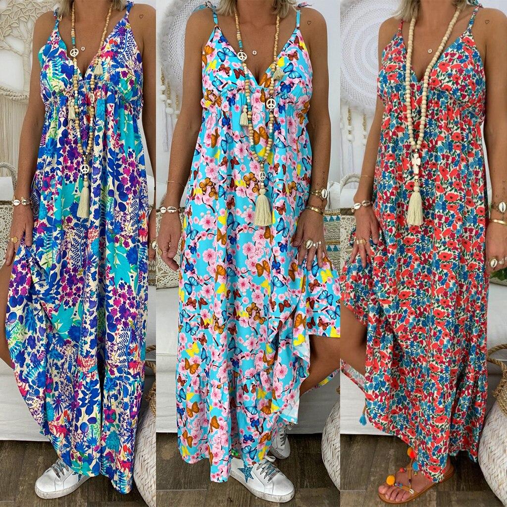 Womens Boho Floral Maxi Dress Summer Beach Party Strappy Sundress Plus Size Ladies Print Dress S-5XL