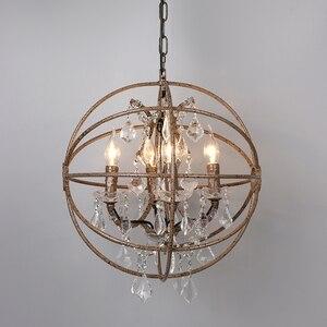 Image 5 - Ferrugem gaiola de ferro lustres E14 grande estilo Retro do vintage CONDUZIU a Iluminação da lâmpada do candelabro de cristal lustre para sala de estar quarto bar