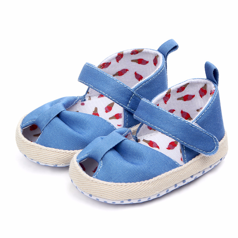 QYFLYXUE Spring new fish mouth soft sole magic sticker baby shoes anti-slip soft sole 0-1 year old baby shoes wholesale 0994 image
