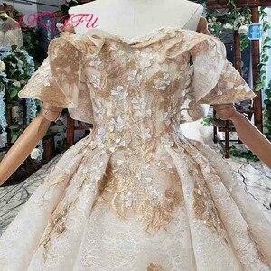 Image 4 - Axjfu 高級王女ビーズクリスタル黄金の花のレースのウェディングドレスヴィンテージボートネック花嫁フリルローズのウェディングドレス 2408