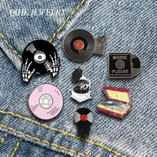QIHE JEWELRY Music Enamel Lapel Pins Classic Phonograph Vinyl Records Brooches Badges