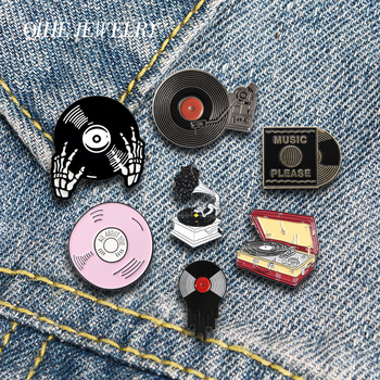 QIHE JEWELRY Music Enamel Lapel Pins Classic Phonograph Vinyl Records Brooches Badges Fashion Gifts for Friends Wholesale