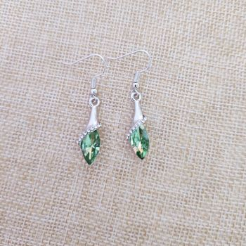 Lady beautiful silver fruit green crystal ear hook silver jewelry Christmas gift 925 sterling silver earrings e069 image