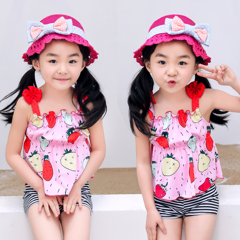 KID'S Swimwear Girls' Two-piece Swimsuit Cake Dress Bikini Hot Springs Tour Bathing Suit Cute Korean-style Swimwear