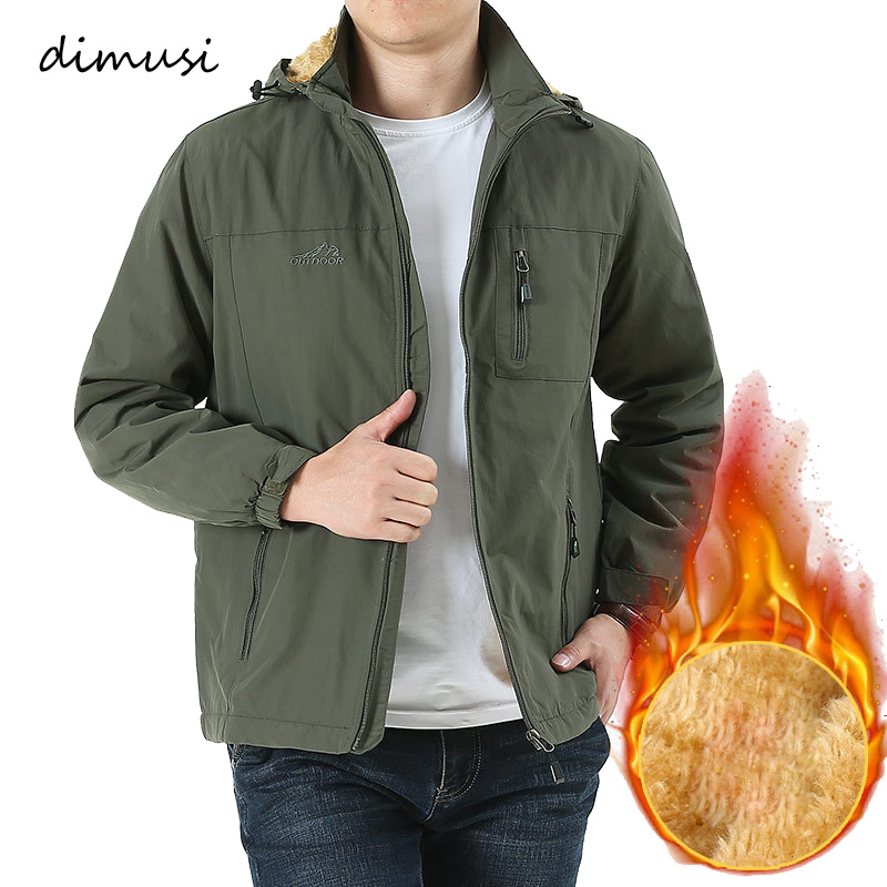 DIMUSI Winter Mens Jacket Male Thick Fleece Warm Army Tactical Windbreaker Jacket Mens Outwear Breathable Hooded Coats Clothing