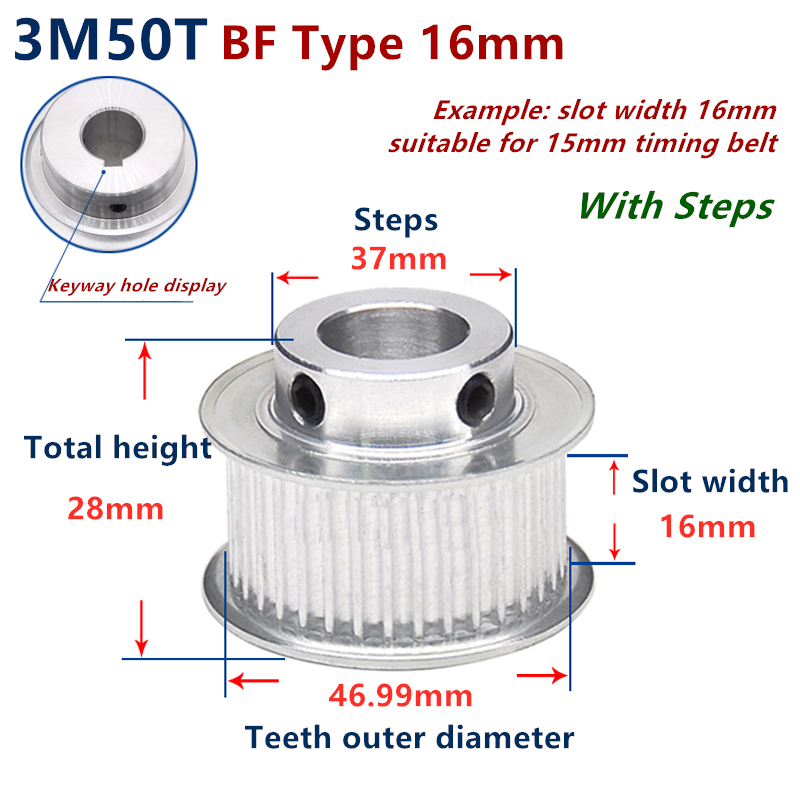 50 Teeth HTD 3M Synchronous Pulley 3m timing pulley Width 16mm 50T 3M timing belt HTD3M Pulley gear bore 6mm-20mm