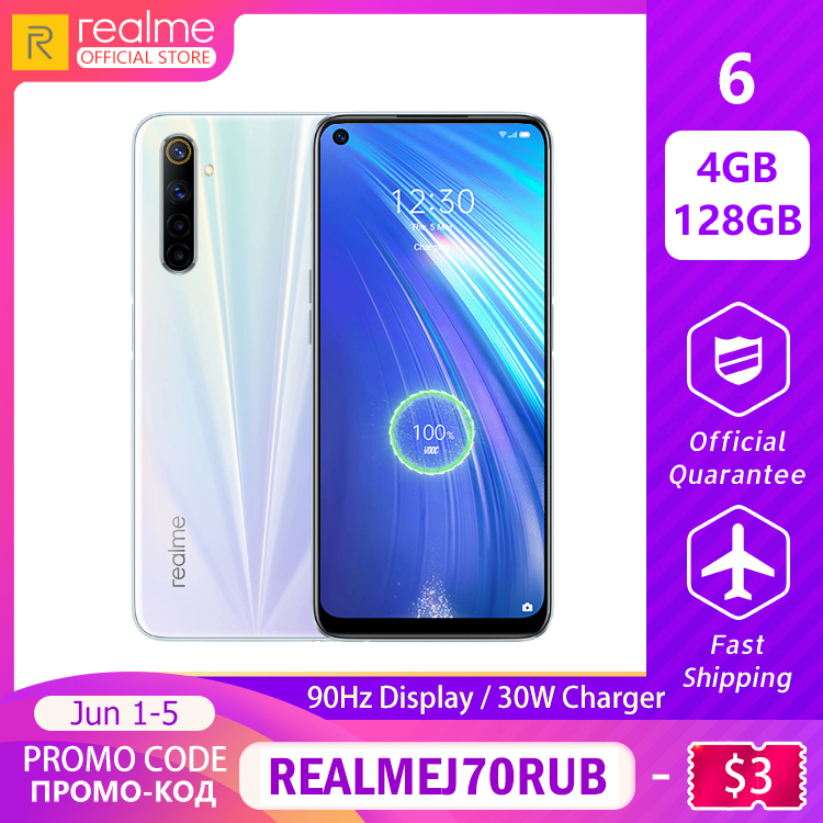 Realme 6 Mobile Phone Global Version 4GB RAM 128GB ROM Mobile Phone Helio G90T 30W Flash Charge 4300mAh Battery 64MP Camera NFC