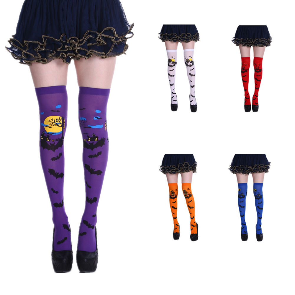 Free Shipping Halloween Print Bat Long Knee High Socks Costume Masquerade Carnival Cosplay Party Dress Witch Stockings