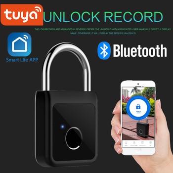 Tuya Smart Lock Keyless Fingerprint USB Rechargeable Door Padlock Bluetooth Quick Unlock Phone unlock App - discount item  20% OFF Access Control