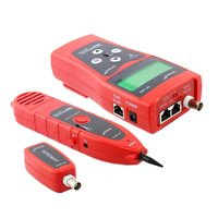 Hot XD NOYAFA Network Monitoring Cable Tester LCD NF 308 Wire Fault Locator LAN Network Coacial BNC USB RJ45 RJ11 Red Color NF_3