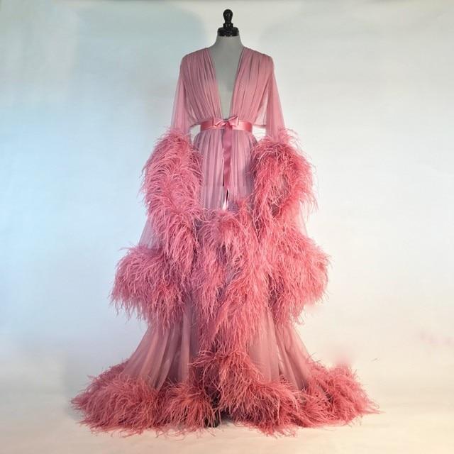 Robe De Marie Sexy Women Bathrobe With Belt Feather Sleepwear Sheer Nightgown Long Sleeve Long Robe Spa