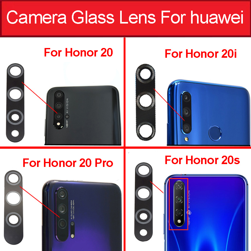 Back Rear Camera Glass Lens For Huawei Honor 20 20i 20s 20 Pro Main Camera Glass Lens With Sticker Tape Replacement Parts