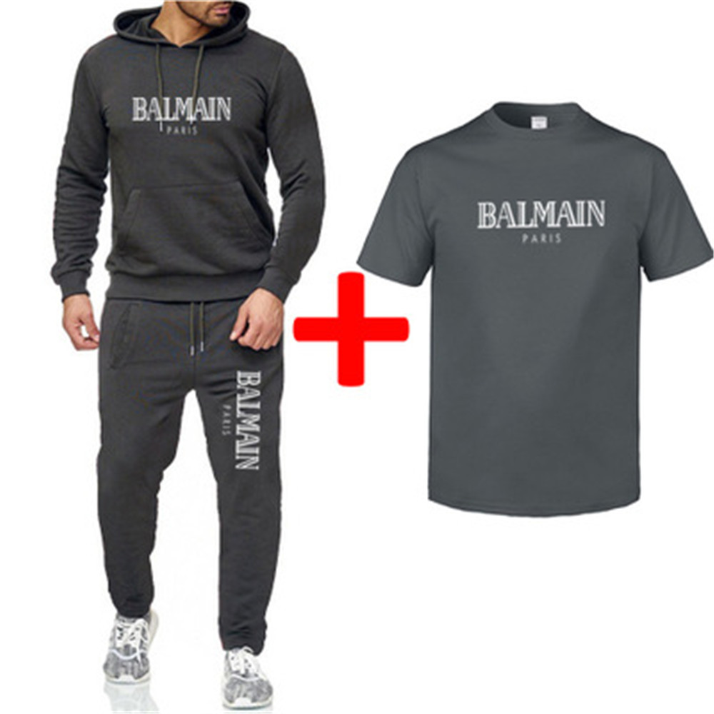 AliExpress Hot Selling Hoodie + Sweatpants Short Sleeve T-shirt Men's 2019 Autumn And Winter New Style Balmain Lettered