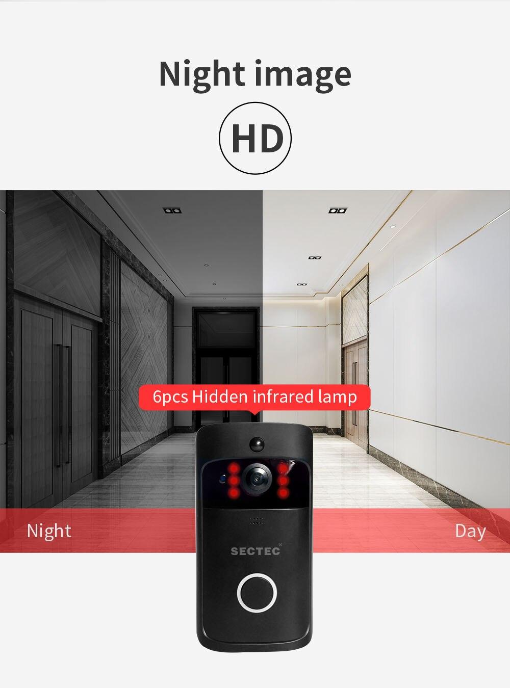 INQMEGA Wifi vidéo sonnette sans fil caméra de sécurité téléphone maison porte cloche alarme télécommande téléphone Vision nocturne en toute sécurité - 6