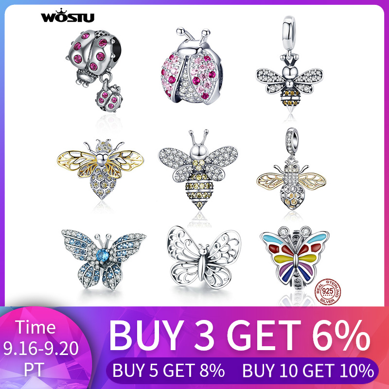 WOSTU Genuine 925 Sterling Silver Ladybug Story Bee Butterfly Insect Beads CZ Dangle Charm Pendant Fit Bracelet Jewelry Making