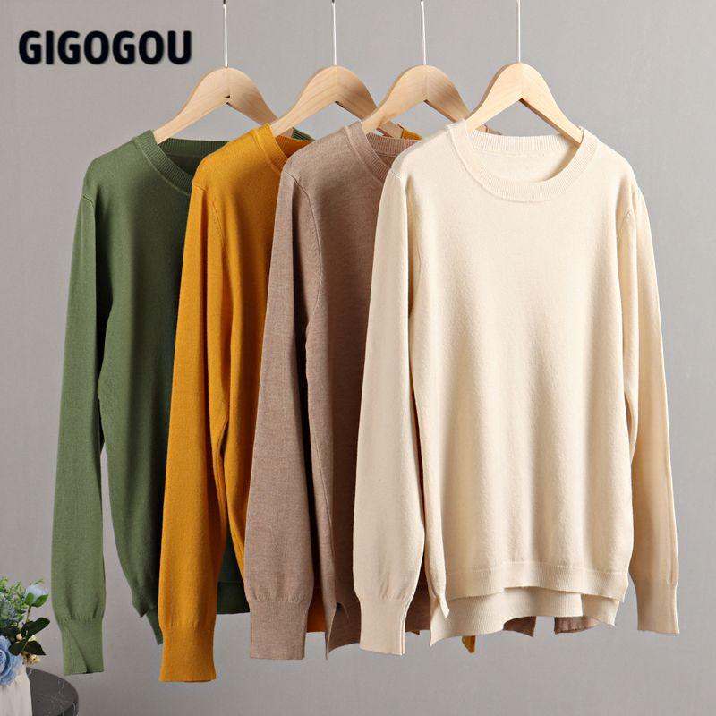 GIGOGOU – Pull en tricot pour Femme, simple et fin, mode coréenne, noir et blanc, hauts et printemps 5