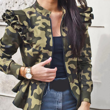 Outwear Coats Basic-Jackets Women's Camouflage Long-Sleeve Office Printed WDC5733 Tops