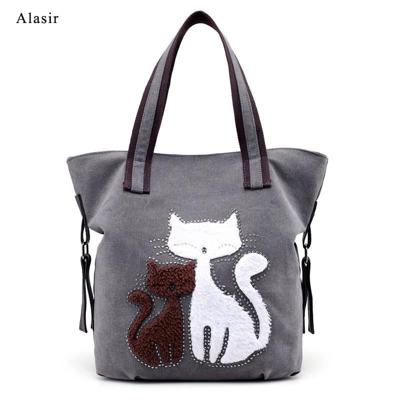 Alasir Cute Cat  Women Handbags Appliques Canvas Ladies Shoulder Bags Large Simple Student Schoolbag Casual  Hand Bags
