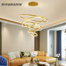 Ceiling Mounted Modern Led Pendant Light Dining room Kitchen Living Home Lighting Cricle Lamps Gold&Coffee