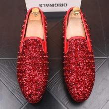 تصميم إيطالي رجالي موضة مأدبة فستان حفلة موسيقية طباعة برشام أحذية مسطحة منصة حذاء رياضة شعبية الهيب هوب حذاء zapatos de hombre