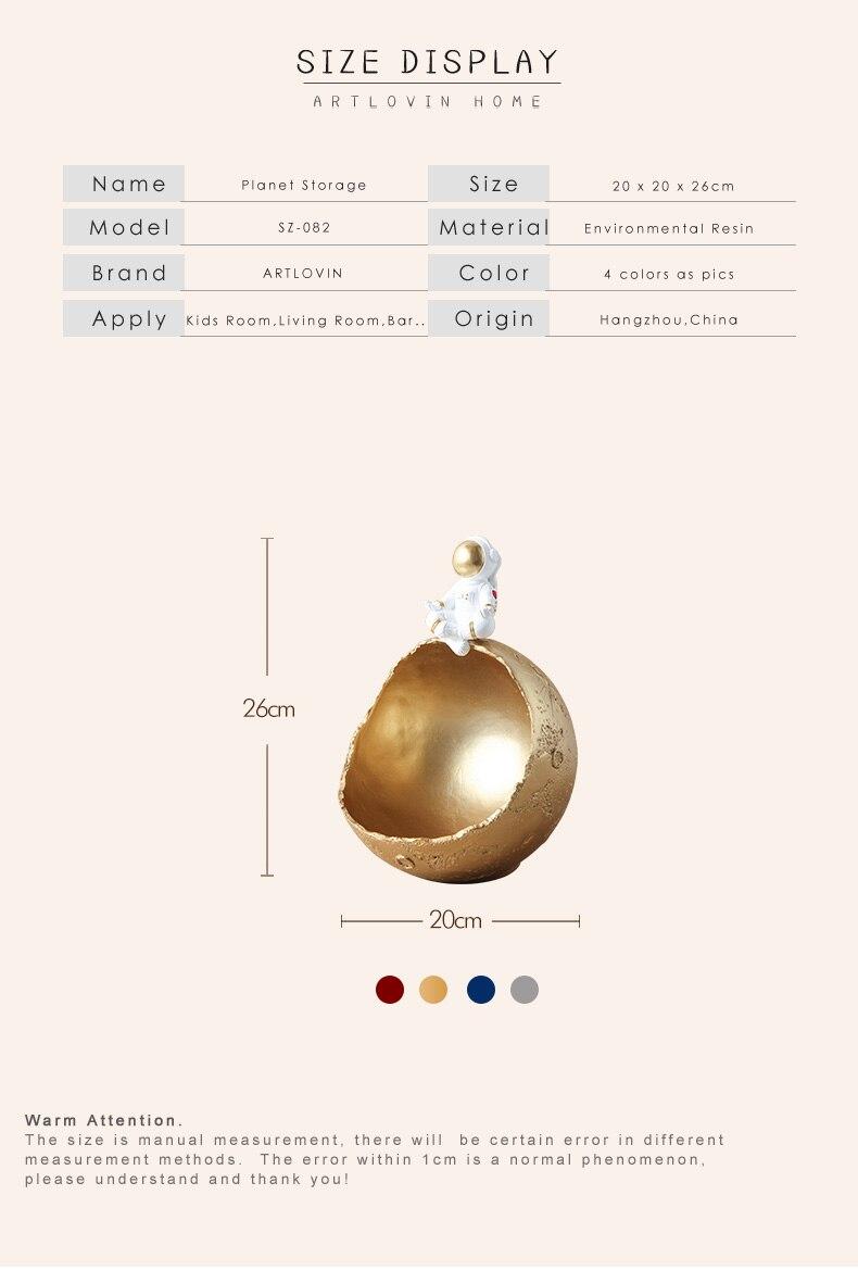 YOTONG Clave de Almacenamiento del Astronauta Resina//Spaceman S/éat Moon Model Snack Box para la decoraci/ón del hogar
